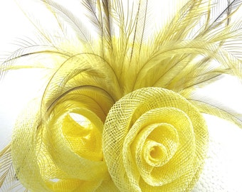 Lemon yellow fascinator, feather and sinamay hatinator headpiece