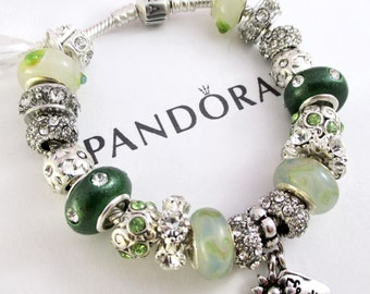 Choose Authentic Pandora Bracelet, Sterling Silver,OR, European Bracelet, Silver Plated, Both with Non Branded Charms, GR 200
