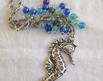 Shimmering Seahorse Car Charm, Car Accessory, Rearview Mirror Charm, Fan Pull, Light Pull