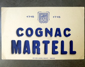 "Former french advertising blotter 1950 paper ""COGNAC MARTELL"" - blotter of ink collection mid century vintage"
