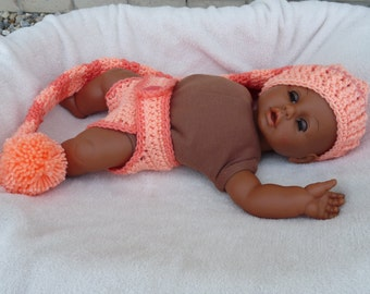 Newborn Long Stocking Hat and Diaper Cover Set--Two-Tone Orange