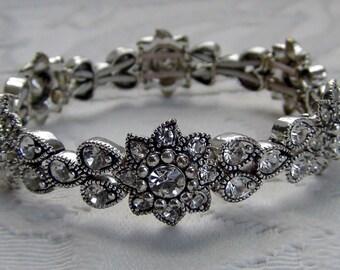 Crystal Rhinestone Bridal Stretch Bracelet