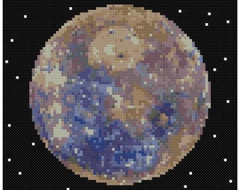 PDF Cross Stitch pattern - 0056.Mercury planet - INSTANT DOWNLOAD