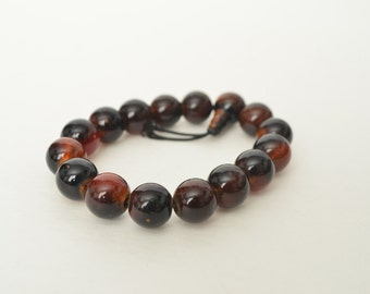 Vintage Stretchable Dark Brown Glass Bead Bracelet.