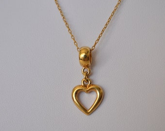 Vintage Gold Tone Open Heart Pendant Necklace made in Korea
