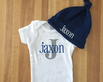 Going home newborn onesie outift, baby boy take home outfit, baby shower gift idea, name, initial, bodysuit, creeper, hat set, initial