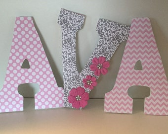 Ava damask pink and gray letters for girls baby nursery, wood letters for bedroom, wall letters for hanging,