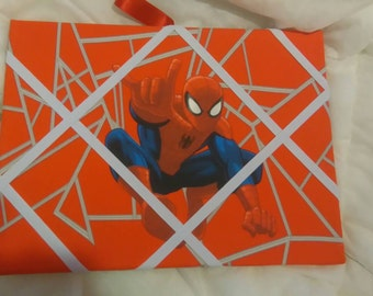 Handmade Spiderman notice board