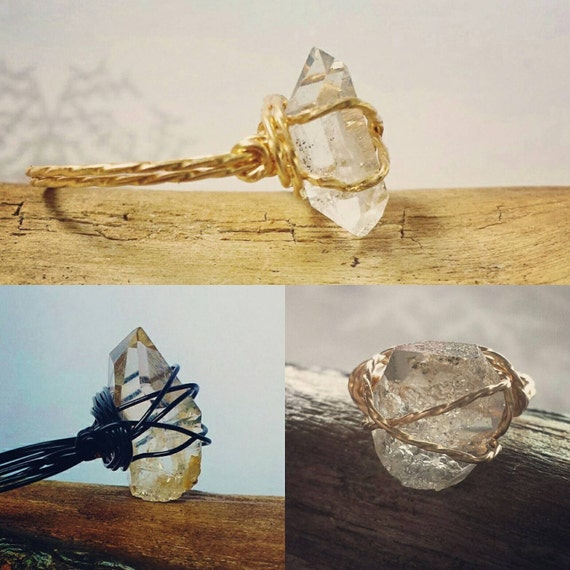 Herkimer Diamond Ring ~ Minimalist Promise Ring ~ April Birthstone, Unique Engagement Ring, Wire Wrapped Raw Stone Jewellery For Her
