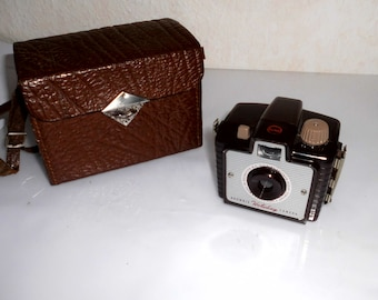 alte vintage Kamera Kodak Brownie Holiday Camera( analoge Kamera) + Ledertasche