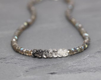 Black Tourmalinated Quartz & Labradorite Necklace. Black Rutile Beaded Choker. Long Layering Necklace. Natural Gemstone Jewellery. Jewelry