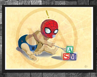 Spider-man Nursery Decor - Children's wall art Print, Marvel toddler wall art, Poster Bedroom Home Decor