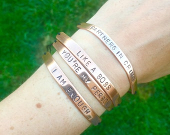 Personalised copper bracelet, skinny stamped bracelet, customised jewellery, unisex jewelry, gifts for her, copper jewellery