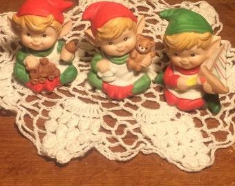 Homco 3 Elf Figurines