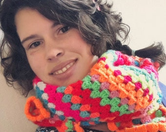 crocheted flowered scarf