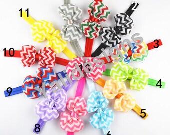 U Pick 10cm( 3.9'' inch) Chiffon Headbands  Stripe Bow Headband  Ribbon Bow Headbands-YTK25