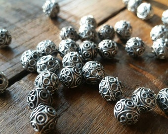 10 Intricate hand made antique silver Bali beads 8mm. 925 sterling  silver #1906