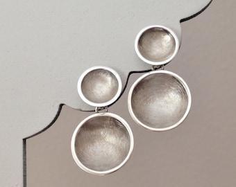 Double Circle Silver Drop Post Earrings