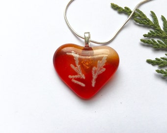 Red Heart Pendant Necklace, Orange Pendant Necklace, Heart Pendant, Heart Necklace, Love Necklace, Heart shaped pendant, Valentines Day