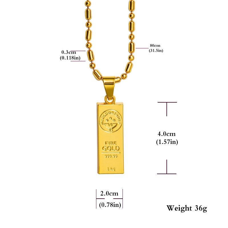 Hip Hop In Gold We Trust Bar Pendent Jewel Necklace 18k Real