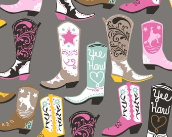 Square Dance in Grey fabric from Luckie line of blend fabrics cowboy boot print fabric