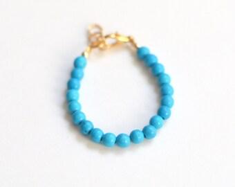 Aqua semi-precious stone bracelet, girls 4mm bead bracelet