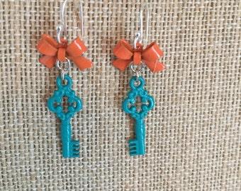 Turquoise mini key earrings