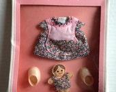Vintage Amanda Jane Baby BOXED costume 1980s box floral dress apron bib felt doll pink plastic shoes RARE British toy MIB mint MoC