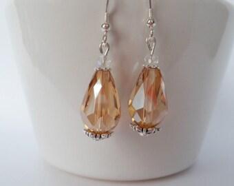 crystal earrings,  champagne earrings