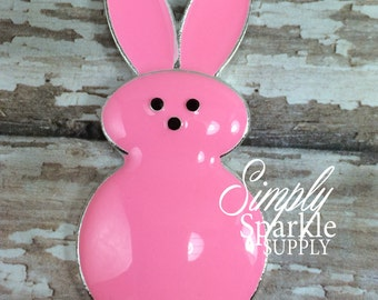 50mm Easter Pink Bunny Peep Candy Spring Rhinestone Pendant Chunky Necklace Beads