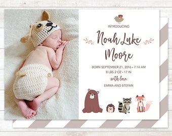 Woodland Birth Announcement, Boy Birth Announcement Card, Woodland Animals Birth Announcement Card