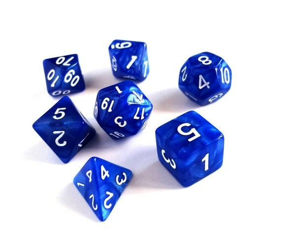 Marbled Blue Polyhedral Dice Set