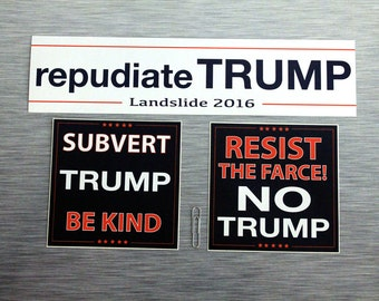 Repudiate Trump Bumper Sticker Combo Pack