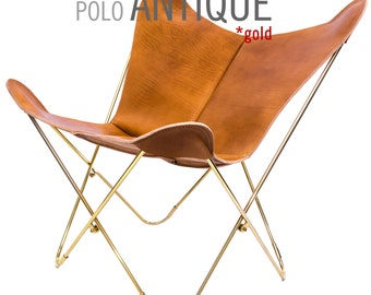 NEW! 100% Handcrafted Original Butterfly Polo Leather Chair with Gold (brass) Frame, from Argentina (Big BKF)