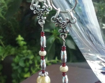 Red Scarlet and Pearl dangle earring set
