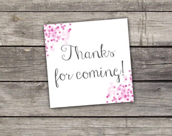 """Pink Thank You Tags - 2"""" Thank You Tags for Baby Sprinkle - Baby Sprinkle Thank You Tags - Pink Baby Sprinkle Baby-113"""