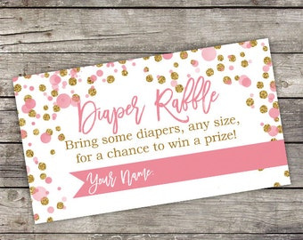 Pink and Gold Diaper Raffle Card - Diaper Raffle Card - Baby Shower Games - Pink and Gold Baby Shower - Baby-244