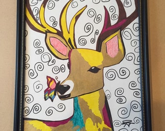 Framed 8x10 drawing of deer with butterfly
