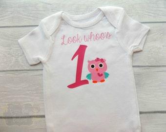 owl first birthday bodysuit owl first birthday shirt look whoos one look whoos 1 owl 1st birthday outfit owl first birthday outfit girl owl