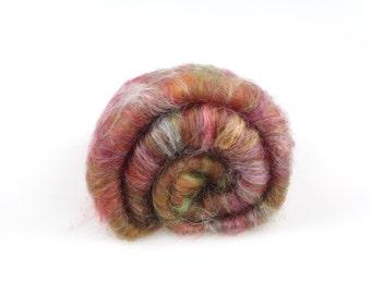 Merino silk Batt forest flower