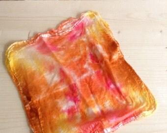 Blood orange hand-dyed Seidenhankies
