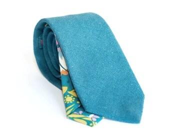 Teal linen tie, slim necktie