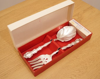 Vintage Salad Servers || Community plate Oneida Silversmith Mansion House || fork and spoon