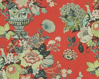 Blue Red Floral Pillow Robert Allen Elizas Garden Salem Red Pillow Throw Pillow Accent Pillow Euro Pillow or Lumbar Pillow ONE Cover