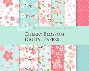 Cherry Blossom  / Sakura Digital Paper Pack - Instant Download - DP084
