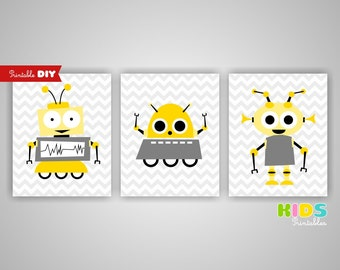 Printable DIY Nursery Art Prints, Yellow, Grey, Robots, Aliens, Set of 3, 8x10 JPG files ( n019 ) ( 009set810 )