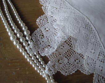 Antique Bridal Wedding Lace Hand-made Hankerchief