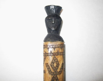 Dayak or Belu (Timor) Scrimshawed Lime Container of Water Buffalo Bone and Wood Stopper - Not a Tourist Piece