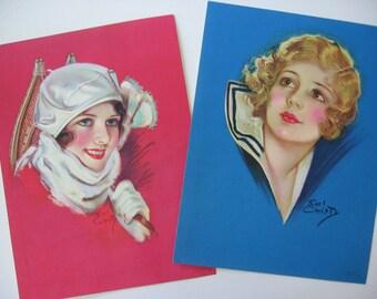 Vintage Set of 2 DeLuxe Calendar Prints Royal Series by Earl Christy, Salesman Samples, Brightly Colored, Sailor Girl, Snowshoe Girl 1930's