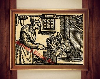 Witch feeding her imps print, witchcraft illustration, medieval poster, occult wall decor,  rustic home, demons, beast #320